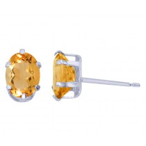 Sterling Silver Oval Citrine Stud Earrings
