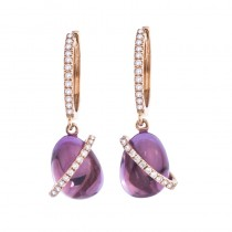 14K White Gold Cabochon Amethyst and Diamond Earrings
