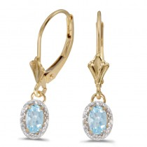 14k Yellow Gold Oval Aquamarine And Diamond Leverback Earrings