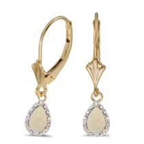 10k Yellow Gold Pear Opal And Diamond Leverback Earrings