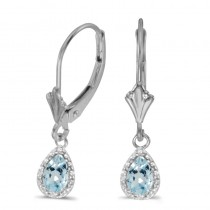 14k White Gold Pear Aquamarine And Diamond Leverback Earrings