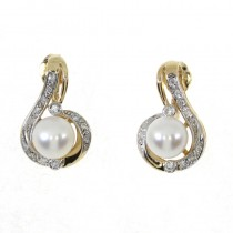 14k Yellow Gold Pearl Fashion Earrings