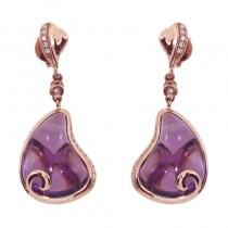 14k Rose Gold Pear Amethyst Earrings