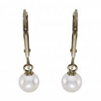 14k Yellow Gold 5mm Natural AAA Quality Pearl Leverback Dangle Earrings