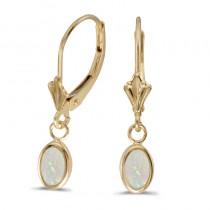 14k Yellow Gold Oval Opal Bezel Lever-back Earrings