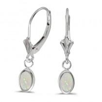 14k White Gold Oval Opal Bezel Lever-back Earrings