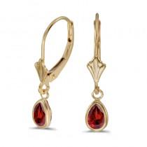 14k Yellow Gold Pear Garnet Bezel Lever-back Earrings