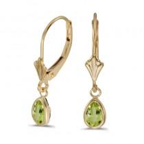 14k Yellow Gold Pear Peridot Bezel Lever-back Earrings