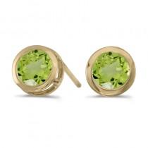 14k Yellow Gold Round Peridot Bezel Stud Earrings