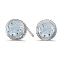 14k White Gold Round Aquamarine Bezel Stud Earrings