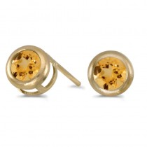 14k Yellow Gold Round Citrine Bezel Stud Earrings