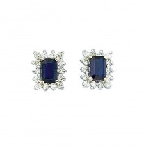 14k Yellow Gold Diamond and Octagonal Sapphire Earring