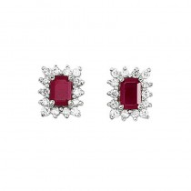 14k White Gold Diamond and Octagonal Ruby Earring