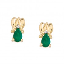 14k Yellow Gold Pear-Shaped Emerald and Diamond Stud Earrings