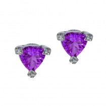 14k Trillion Amethyst and Diamond Earrings