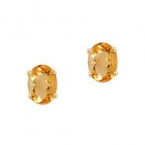 14k Yellow Gold Oval Citrine Stud Earrings