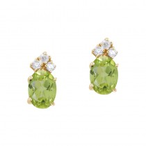 14k Yellow Gold Peridot And Diamond Oval Earrings