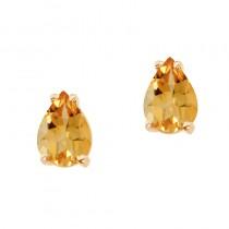 14k Yellow Gold Pear Shaped Citrine Earrings