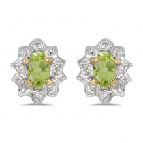 14k Yellow Gold Oval Peridot And Diamond Earrings