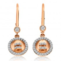 14K Rose Gold Diamond Satin Button Lever Back Earrings