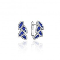 Glam Galore Dramatic Sapphire and Diamond Leaf Earrings