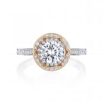 Tacori HT2570RD65PK 18 Karat Two-Tone Crescent Chandelier Engagement Ring