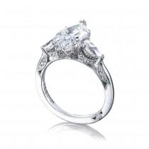 Tacori HT2628MQ15X75 Three-stone Platinum Ladies RoyalT Engagement Ring