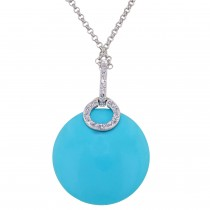 Dabakarov Turquoise Necklace in 14kt White Gold with Diamonds (1/20ct tw)