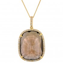 Dabakarov Smokey Topaz Necklace in 14kt Yellow Gold with Diamonds (1/7ct tw)