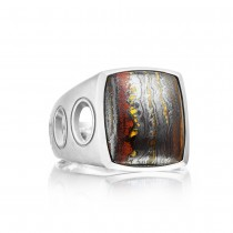 Vented Gemstone Ring featuring Tiger Iron