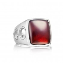 Vented Gemstone Ring featuring Garnet over Mother of Pearl