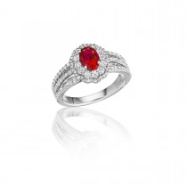With Love Ruby and Diamond Triple Row Split Shank Ring