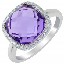 Dabakarov Amethyst Ring in 14kt White Gold with Diamonds (1/10ct tw)