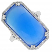 Dabakarov Blue Agate Doublet Ring in 14kt White Gold with Diamonds (1/7ct tw)