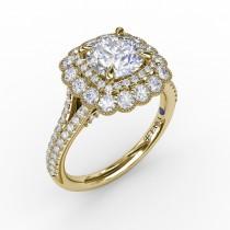 Vintage Cushion-Shaped Double Halo Engagement Ring With Split Shank