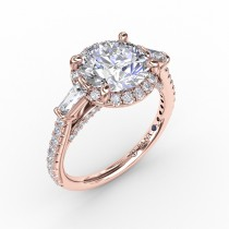 Vintage Round Diamond Halo Engagement Ring With Tapered Baguettes