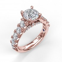 Wide Band With Bold Pave Engagement Ring