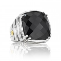 Bold Woven Crescent Ring featuring Black Onyx