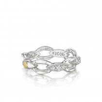 Pavé Crescent Links Ring in Silver with Diamonds