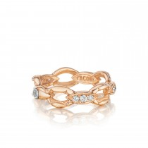 Pavé Crescent Links Ring in Silver with Diamonds sr184p