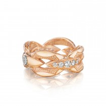 Pavé Bold Crescent Links Ring in Silver sr186p