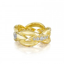 Pavé Bold Crescent Links Ring in Silver sr186y