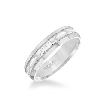 6MM Men's Wedding Band - Swiss Cut Design With Milgrain And Rolled Edge