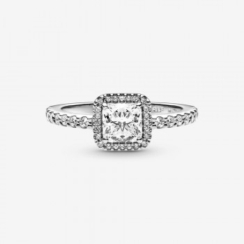 Square Sparkle Halo Ring