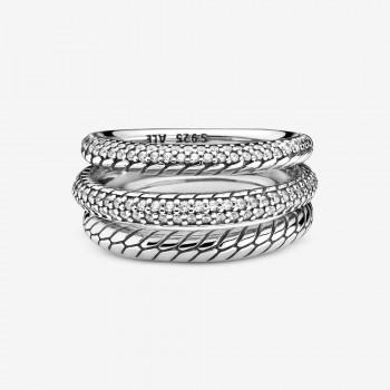 Triple Band Pavé Snake Chain Pattern Ring