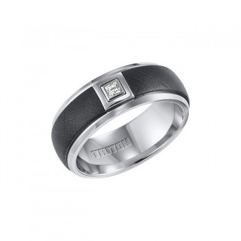 Triton Black And White Tungsten Carbide Men'S Band 22-4328