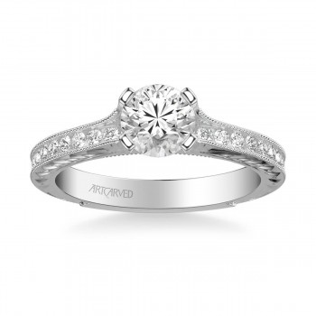 Zoya Vintage Side Stone Diamond Engagement Ring