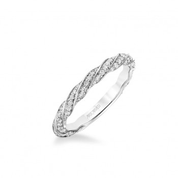 Stackable Band With Diamond Swirl Design