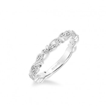 Stackable Band With Diamond And Milgrain Floral Design