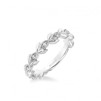 Stackable Band With Polished Petals And Diamond And Milgrain Leaf Accents